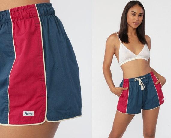 Retro Swim Trunks Laguna Swim Shorts 80s Bathing Suit Shorts Red Blue Color Block Vintage Swimwear Navy Blue Striped Swimsuit Small