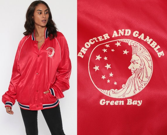 Satin Bomber Jacket 80s Celestial Moon Stars Baseball Green Bay Procter and Gamble Red Letterman Coat 1980s Vintage Snap Up Extra Large xl