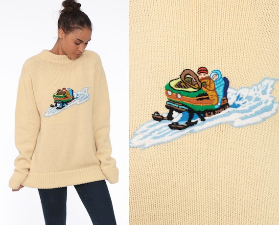 80s Ski Sweater -- 90s Winter Sweater Knit 80s Retro Snowmobile Print 1980s Slouchy Vintage Skiing Cream Sweater Pullover Small Medium