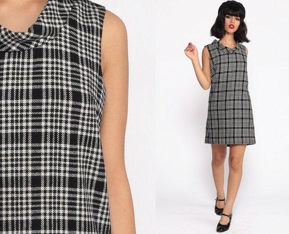 60s Mod Mini Dress Shift WOOL Checkered Plaid Twiggy Black White 1960s Vintage Sixties Space Age Mad Men Sleeveless Minidress Small