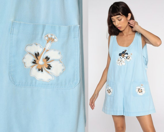 Summer Romper Playsuit FLORAL PRINT Hawaiian Romper Baby Blue 80s Tropical One Piece Jumpsuit Shorts Boho 1980s Vintage Vacation Large