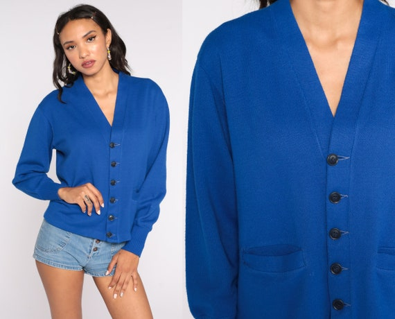 Royal Blue Cardigan Sweater 1970s Grandpa Button Up Slouchy Vintage 70s Sweater Retro Medium Large