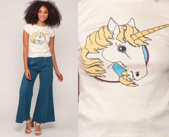 UNICORN Shirt 70s Tshirt Hippie Boho Graphic Print 1979 Retro Tee Mystical Animal Hipster Vintage Baby Tee Girly Extra Small xs