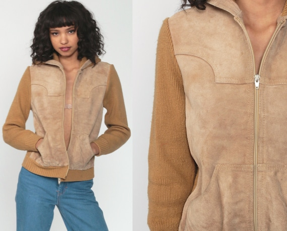 Suede Sweater Jacket 70s Leather Coat Hippie Hooded Jacket Boho Tan Taupe Hood 1970s Bohemian Knit Vintage Festival Zip Up Extra Small xs