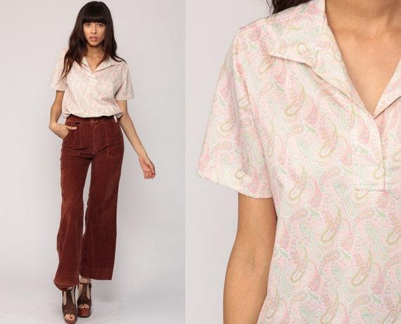 Boho Top Psychedelic Blouse PAISLEY Shirt Hippie 70s Bohemian Bohemian Pastel Baby Pink Vintage 1970s Short Sleeve Retro Large