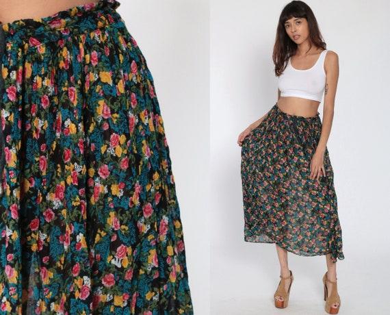 Floral Broomstick Skirt Pink Blue Boho Hippie Gauze Skirt 90s Midi Bohemian Vintage Broomstick Gypsy Black Festival Medium Large