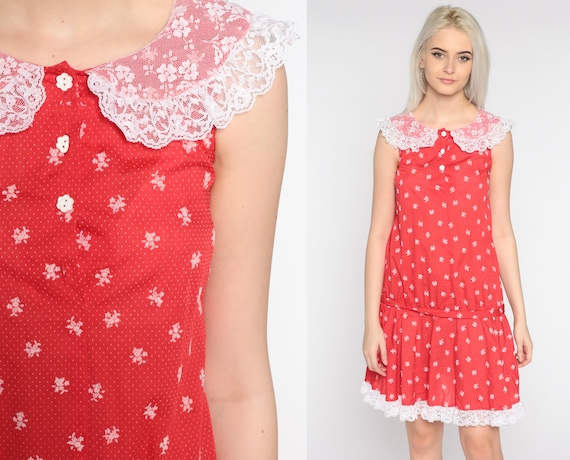70s Mod Mini Dress Red Floral White Lace Collar Dress 1970s Bohemian Shift Vintage Sleeveless Drop Waist Scooter Extra Small xs