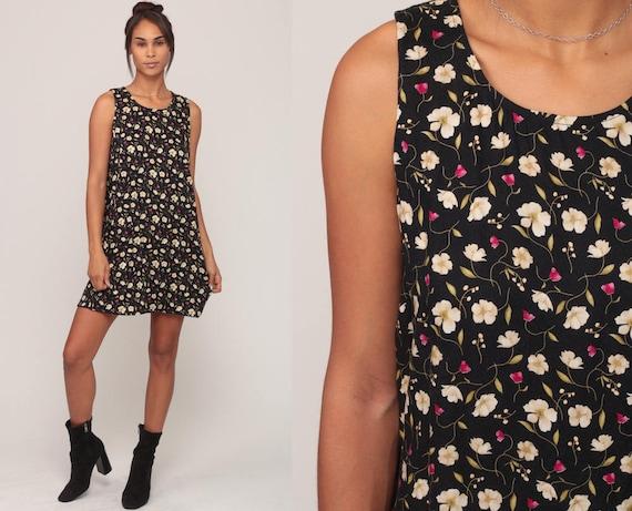 Floral Summer Dress 90s Sundress Grunge Mini Black Floral Sun 1990s Bohemian Vintage Shift Boho Sleeveless Medium Large