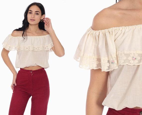 Peasant Crop Top Hippie Boho Blouse 70s White Top Floral Lace Shirt Off Shoulder 1970s Bohemian Sheer Cotton Blouse  Vintage Small