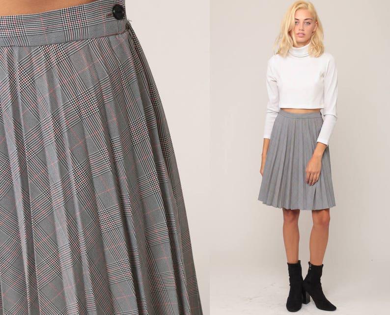 0ae9f38c0 Tartan Skirt Plaid Midi Skirt School Girl PLEATED Black White | Etsy