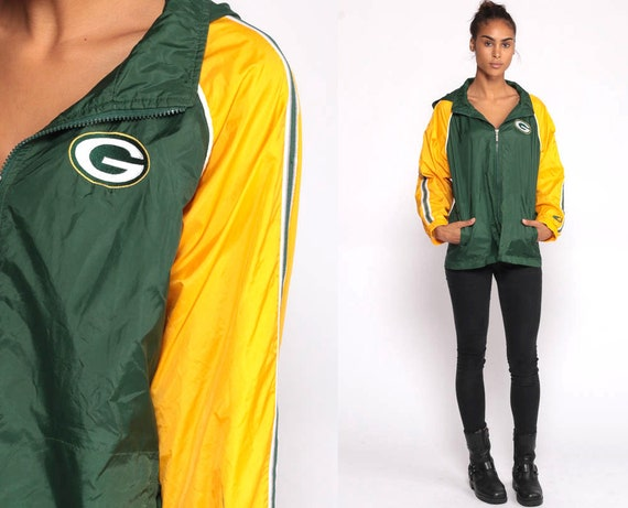 GREEN BAY PACKERS Jacket Football Nfl Jacket 90s Streetwear Jacket Starter Sports Green 1990s Sportswear Windbreaker Vintage Medium