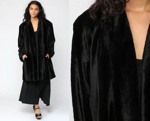 Faux Fur Coat Vegan Fake Fur Jacket Vintage 70s Bohemian Jacket Black Boho Furry Glam Rock Jacket Mod 1970s Bohemian Winter Large