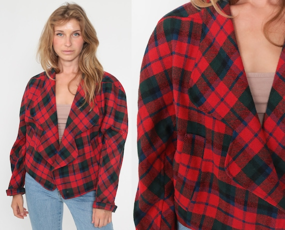 90s Plaid Jacket Red Blazer Jacket Red Checkered Jacket Button Up Deep V Neck 1990s Long Sleeve Cropped Vintage Large