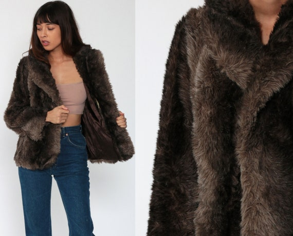 Brown Faux Fur Coat Fake Fur Jacket Vegan Vintage 70s Bohemian Jacket Furry Glam Fuzzy 1970s Bohemian Hipster Boho Winter Medium