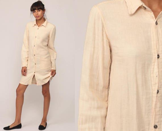 Cotton Tunic Dress Button Up Dress Cream Grunge Mini 90s Shirtdress Boho Shirt Dress Bohemian 1990s Vintage Long Sleeve Shift Extra Small xs