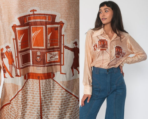 70s Trolley Shirt FLAPPER Print 70s San Francisco