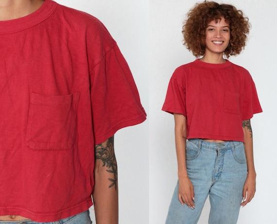Red Crop Top Pocket Cropped TShirt Plain TShirt 90s T Shirt Grunge Top Retro Tee Normcore Vintage Basic Medium