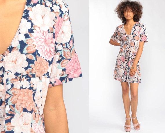 Floral Onesie Grunge Romper Dress 90s Boho Playsuit Mini Dress One Piece Woman V Neck Blue Pink 1990s Button Up Short Sleeve Small Medium