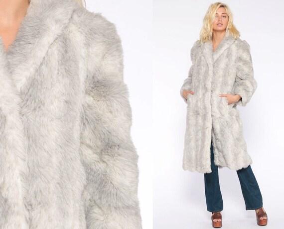 Grey Faux Fur Coat Fake Fur Jacket 70s Jacket Gray