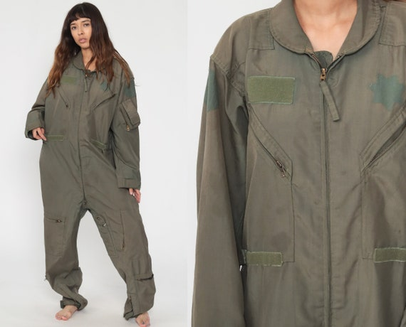 Flight Suit Military Jumpsuit 80s Army Coveralls Zip Up Boilersuit Aramid Boiler Suit Vintage Long Sleeve Olive Green Extra Large xl l