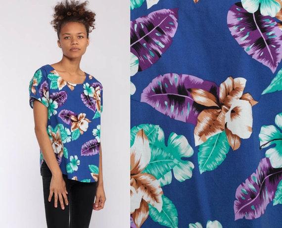 Hawaiian Shirt Tropical Shirt 90s Floral Print Blue Surfer Tee Shirt Beach Vacation 1990s Tourist Top Short Sleeve Womens Small