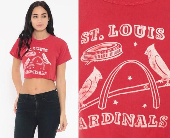 St Louis Cardinals Shirt Baseball Crop Top Graphic Tee Sports Retro Tshirt 80s Vintage Red T Shirt Sports Small Medium