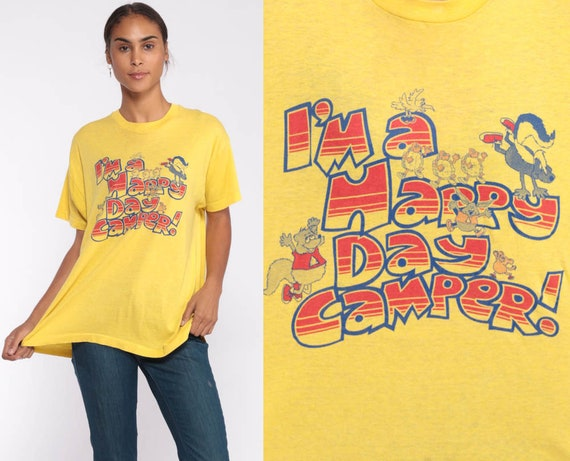 Camp Shirt Happy Day Camper Graphic T Shirt 80s Tshirt Camping Shirt  Vintage Burnout Tee Hipster Paper Thin 1980s Retro Extra Large xl xxl