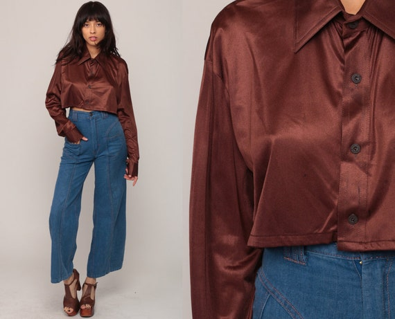 Long Sleeve Crop Top Cropped Shirt 70s Blouse Bohemian Brown Shirt Button Up Disco Top Boho Hippie 1970s Seventies Large