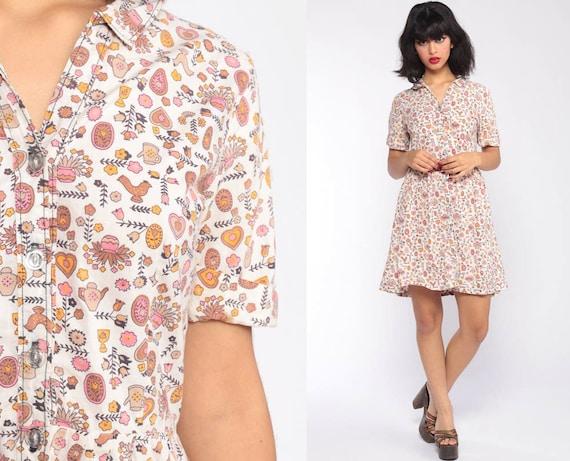 60s Day Dress TEAPOT + HEART PRINT Mini Cotton Novelty Print 1960s Vintage Full Skirt Fit and Flare High Waist Folk Button Up Medium