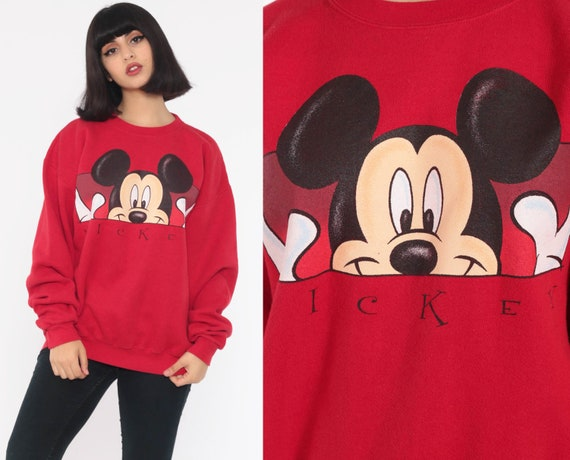 Mickey Mouse Sweatshirt Walt Disney Sweater 90s Grunge Shirt Red Cartoon 1990s Vintage Oversize Slouchy Medium