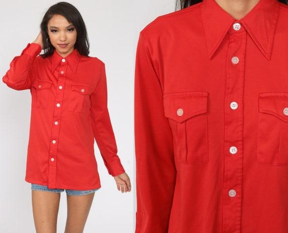 70s Red Shirt Dagger Collar Shirt Button Up Shirt Long Sleeve Top Disco Shirt 1970s Collared Plain Oxford Small Medium