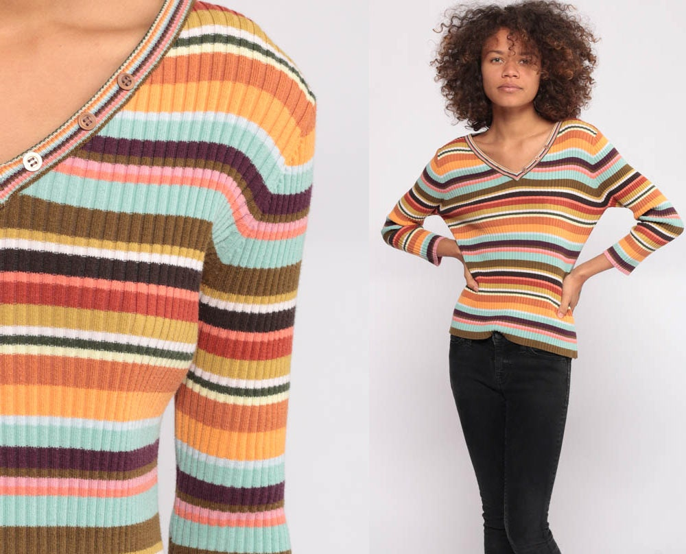 Rainbow Striped Sweater 90s Rainbow Knit Sweater V Neck