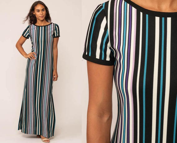 Long Striped Dress 1970s Maxi Mod Vintage High Slit 70s Boho Hippie Bohemian Column Short Sleeve Black Blue Vertical Stripe Small
