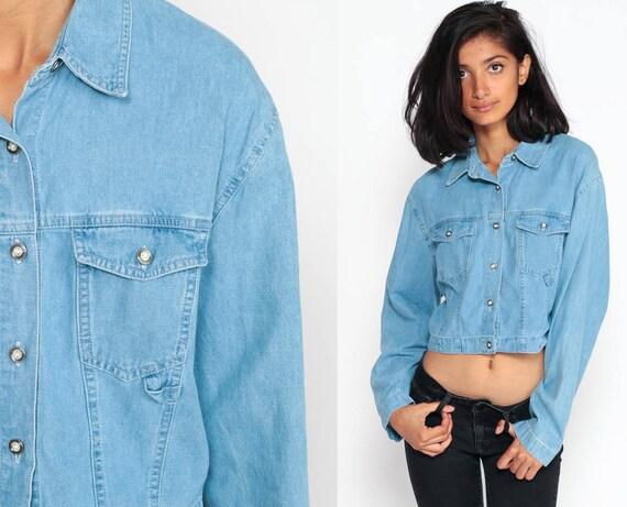 Denim Crop Top Jean Blouse 90s Grunge Shirt Jean Shirt Button Up Top Vintage 1990s Long Sleeve Blue Medium