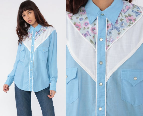 Western Butterfly Blouse 80s Floral PEARL SNAP Shi