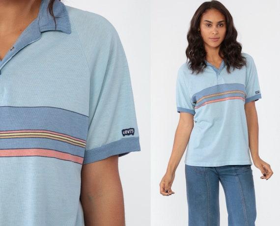 Levis Polo Shirt STRIPED 80s Levis TShirt Collared Shirt 80s Levi Strauss Light Blue Baby Blue Polo Half Snap Up Retro 1980s Vintage Medium