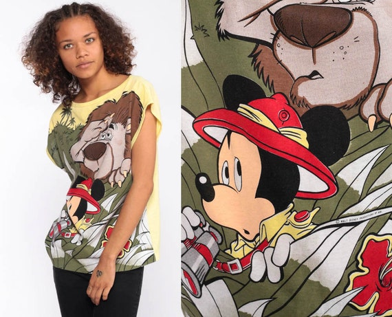 Safari Mickey Shirt -- 80s Disney Shirt Mickey Mouse Shirt Graphic Cartoon T Shirt Jungle Vintage Retro Tee 1980s Kawaii Medium