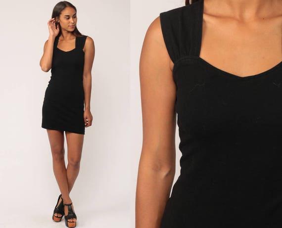 Black Mini Dress 90s Party lbd Gothic BODYCON Party Goth Spandex Sexy Vintage Little Black Dress Sleeveless 80s Small