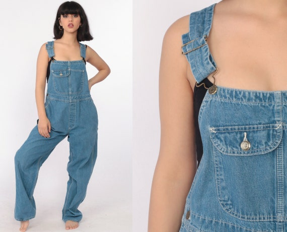 Key Overalls 90s Denim GRUNGE Pants Baggy 1990s Dungarees Bib Long Bib Overall Boyfriend Hipster Vintage Carpenter Denim Pants Large