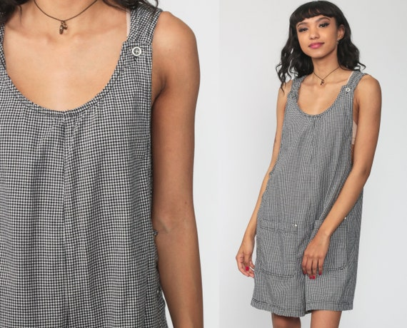 Gingham Short Overalls 90s Grunge Black Romper Woman Vintage Checkered Print Romper Playsuit White 1990s Normcore Medium