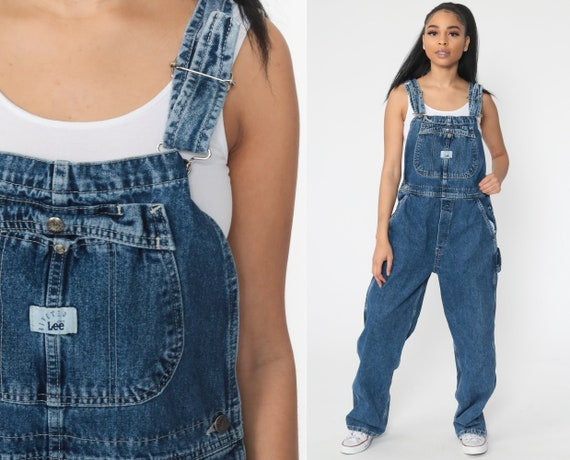 Lee Dungarees Jean Overalls 80s Denim GRUNGE Pants Baggy 1980s Dungarees Bib Boyfriend Hipster Vintage Carpenter Small Medium