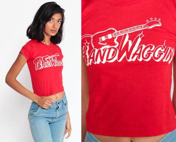 Bandwaggin Shirt Country Music Shirt Music Festival 80s Graphic Tee Red Cowboy Shirt Retro TShirt Vintage  Screen Print Extra Small xs xxs
