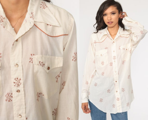 Wrangler Western Shirt 70s Floral Blouse Pearl Snap Shirt White Top 1970s Vintage Button Up Boho Long Sleeve Rockabilly Medium Large