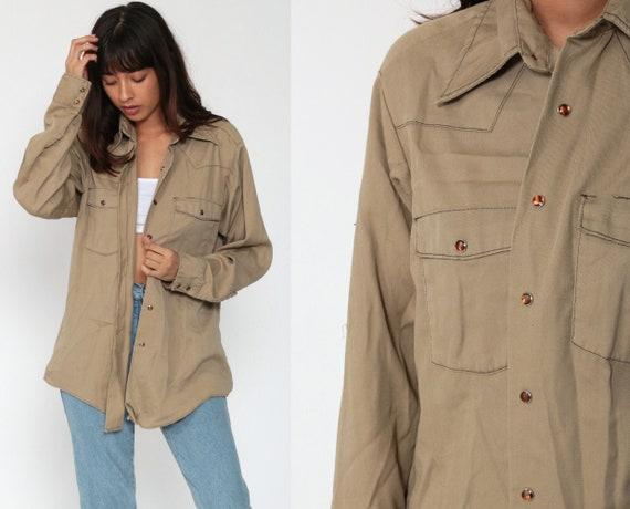 Pearl Snap Shirt Dickies Western Shirt Tan Shirt 70s Western Shirt Long Sleeve Vintage 80s Button Up Plain Oxford Shirt Men's Medium 15