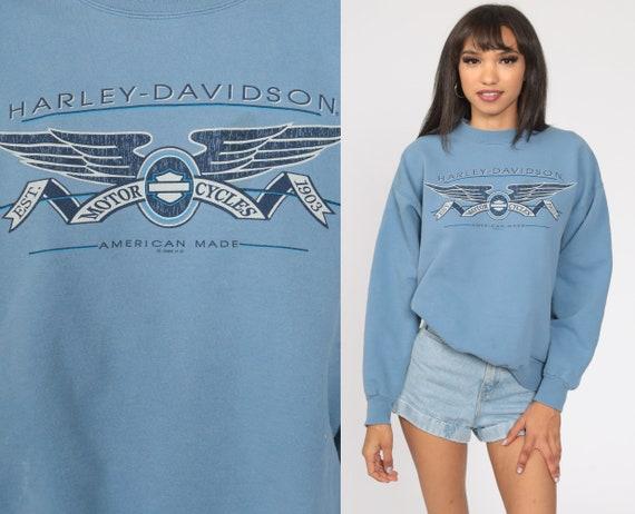 Harley Davidson Sweatshirt 90s Biker Shirt Blue Pullover Motorcycle Vintage Graphic Retro Slouchy Medium Large