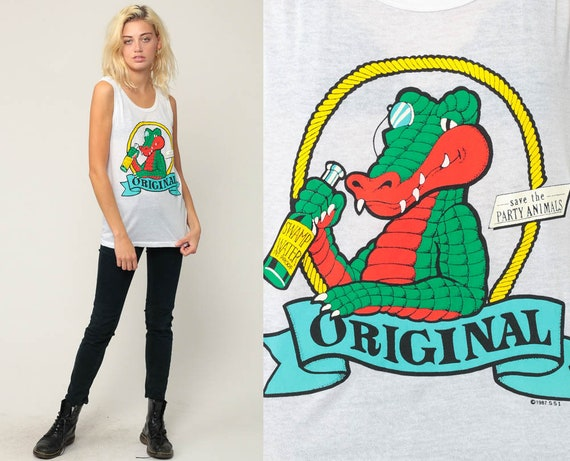 Crocodile Shirt ORIGINAL SWAMP WATER Retro Tank Top 80s Graphic Tee Alligator Shirt Vintage Paper Thin Burnout Party Drink Medium