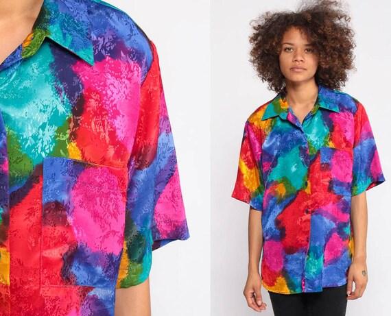Tie Dye Shirt 90s Grunge Short Sleeve Top Vintage Festival Hippie Boho Blouse Bright Retro Tshirt TieDye Bohemian Button Up Medium