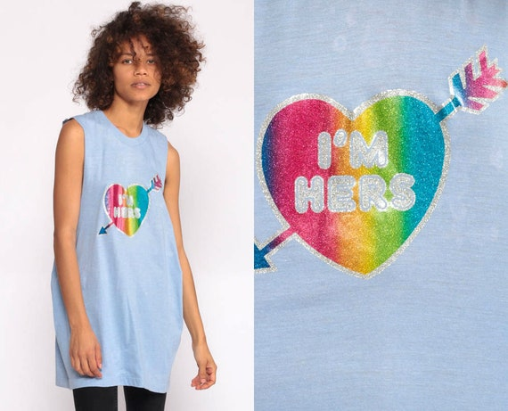 I'm Hers Shirt Lesbian Shirt Retro Tank Top 80s Graphic Tee Heart Gay Pride Vintage 70s Paper Thin Baby Blue Burnout Small Medium Large