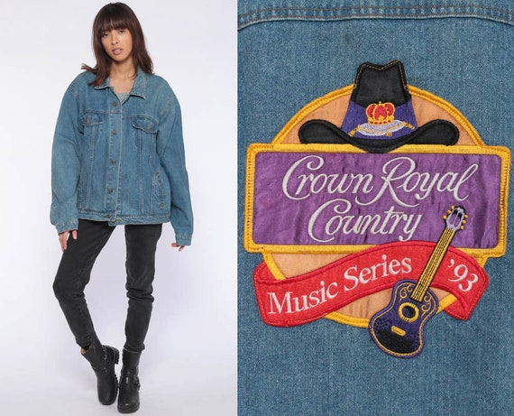 1993 Denim Jacket Crown Royal Country Music Jean Jacket Oversized 90s Vintage Brittania Biker Grunge Button Up Trucker Jacket Extra Large xl