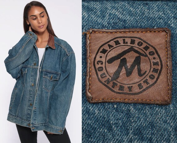 90s Marlboro Jean Jacket Denim Jacket LEATHER COLLAR Jacket Grunge Oversized 80s Vintage Trucker Blue Brown Coat Retro Extra Large xl l